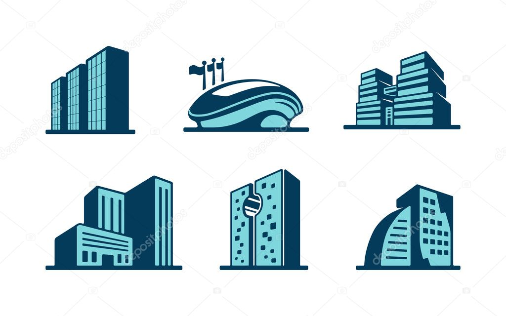 Hotel Building Icon Vector Vector 3d Building Icons Set