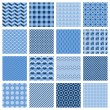 Set of seamless geometric patterns in blue — Stock Vector #48584947