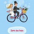 Bride and groom on a bicycle - Save The Date — Stock Vector