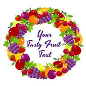 Colorful wreath of fresh fruit — Stock Vector