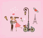 Romantic couple on a Paris vacation — Stock Vector