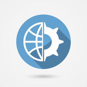 Vector global technology icon — Vector de stock