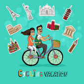 Couple on a Cycling Vacation — Stock Vector