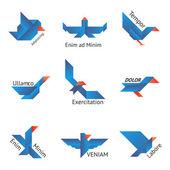 Set of origami birds — Stock Vector