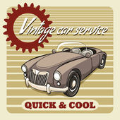 Quick and Cool - Vintage Car Service poster — Stock Vector