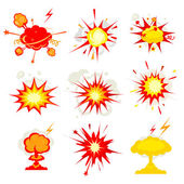 Explosion, blast or bomb bang fire — Stock Vector
