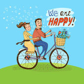Loving couple riding on a bicycle — Stock Vector