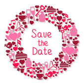 Save the Date romantic circular symbol — Stock Vector