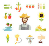 Farm icons for cultivating crops — Vector de stock