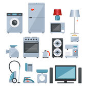 Colored icons of home appliances — Stok Vektör