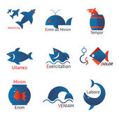 Different types of fish in minimalist design — Stockvektor