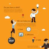 Debt poster concept — Stock Vector
