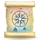 Scroll with vintage compass design and boats — Stockvektor