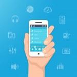 Music app on smartphone — Stock Vector