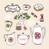 Set of vector tea service icons — Stock Vector