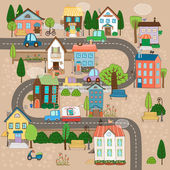 Town on road — Stock Vector