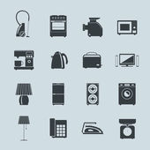Set of household appliances silhouette icons — Stock Vector