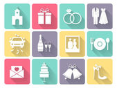 Wedding and love icons — Stock Vector