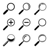 Magnifier Glass Icons — Stock Vector