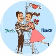 Couple in love with Eiffel Tower from Paris — Stock Vector #49578175