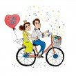 Two young lovers riding a tandem bicycle — Stock Vector