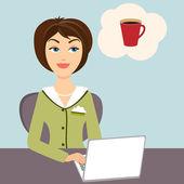 Secretary with mug of hot coffee — Stock Vector
