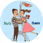 Couple in love with Eiffel Tower from Paris — Vector de stock
