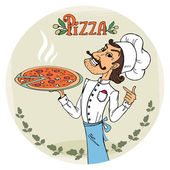 Italian chef with a steaming hot pizza — Stock Vector