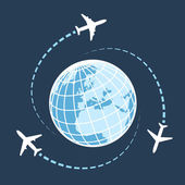 Traveling around the world by air transport — Stock Vector