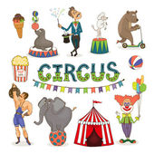 Vector circus  funfair and fairground icon set — Stock Vector