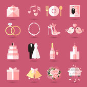 Set of wedding icons in flat style — Vecteur