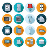 Set of household appliances flat icons — Stock Vector