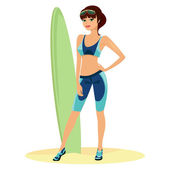Beautiful beach babe with a surf board — Stock Vector