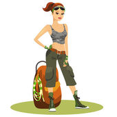 Beautiful young female backpacker — Stock Vector