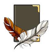 Plumas de color marrón y blanco en un libro — Vector de stock