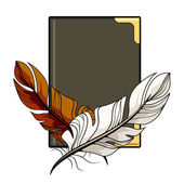 Brown and white feathers on a book — Stock Vector