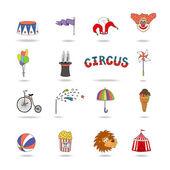 Uppsättning av färgglada vektor cirkus ikoner — Stockvektor