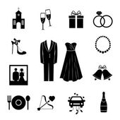 Set of black silhouette wedding icons — Stock Vector