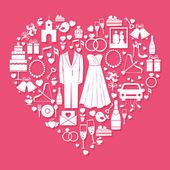 Elementos de casamento em forma de coração — Vetorial Stock
