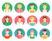 Vector set of girls and young women avatars — Stock Vector