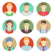 Set of boys avatar faces in flat style — Stock Vector