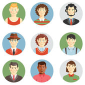 Boys and men faces icons in flat style — Stock Vector