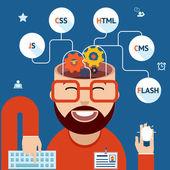 Desenvolvedor de web e aplicações móveis — Vetor de Stock