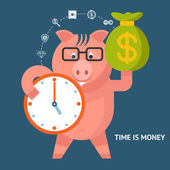 Time Is Money - banking pig — Stock Vector