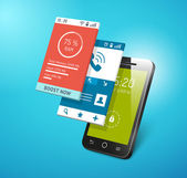 Application on smartphone screen — Stock Vector
