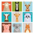 Set of vector animal icons — Stock Vector