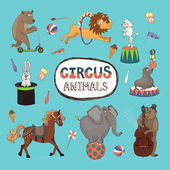Vector set of colorful circus animals — Stock Vector