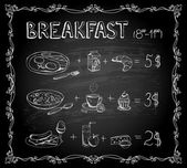 Breakfast chalkboard menu — Vector de stock