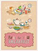 Best For You Breakfast vintage poster design — Stock Vector