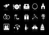 Vector wedding icons on a black background — Stock Vector
